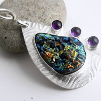 Peacock blue violet orange titanium druzy necklace with amethyst