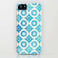 Aqua Blue & Off White Geometric Pattern iPhone & iPod Case by micklyn