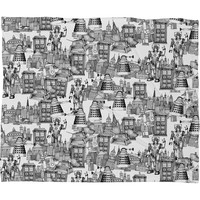 Sharon Turner Walking Doodle Toile De Jouy Fleece Throw Blanket