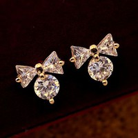 Cute Bow On Diamond Earrings