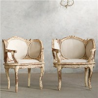 Eloquence One of a Kind Vintage Banquette Louis XV Distressted Cream Set of 2