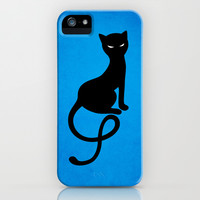 Blue Gracious Evil Black Cat iPhone & iPod Case by Boriana Giormova