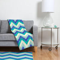Jacqueline Maldonado Chevron Ocean Fleece Throw Blanket