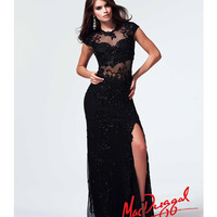 (PRE-ORDER) Mac Duggal 2014 Prom Dresses - Black Beaded Cap Sleeve Prom Dress
