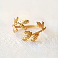 Gold Wrap Leaf Ring