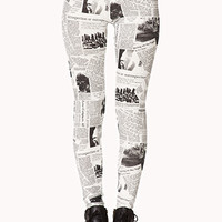 Street-Chic Newspaper Leggings