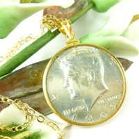 1969-D Kennedy/JFK Half Dollar 14kt Gold Filled Coin Pendant and Chain
