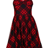 STRAPLESS PLAID PARTY DRESS
