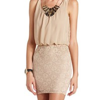 LACE BODY-CON 2-FER DRESS