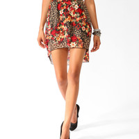 High-Low Wild Floral Skirt