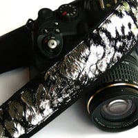 Black and Silver Camera Strap. dSLR Camera Strap. Photo Camera Accessories.