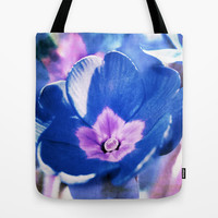 blue flower Tote Bag by Angela Bruno