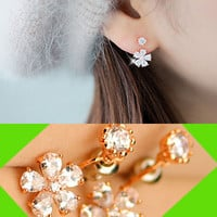 Sparkly Daisy Rhinestone Wrapping Ear Cuffs