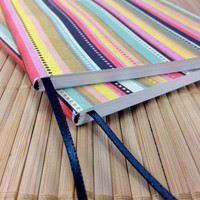 Mini Jotter Striped, Pocket-Sized Journal, Mini Notebook with Striped Cover and Attached Ribbon