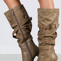 Salti-4 Criss Cross Strappy Buckle Boots | MakeMeChic.com