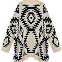 2013 New Black White Aztec Tribal Sweater Jacket Open Front Warm Loose Oversized