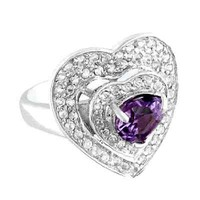 Genuine Amethyst Heart Shaped  Ring size 7