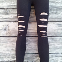 Cut Out Black Leggings One Size Fits Most
