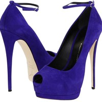 Giuseppe Zanotti Suede Peep Leather Violet Pumps 58% off retail