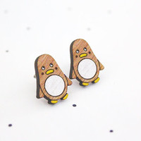 Wooden Laser Cut Penguin Earrings
