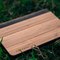 iPad Mini Leather Flip Case - iPad Mini Case - Handmade Bamboo Case - Ultrathin Wooden Back Case Cover - iPad Mini Bamboo Case