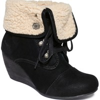 Blowfish Buster Faux-Shearling Wedge Booties