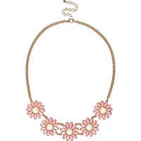 PINK DAISY GEM STONE SHORT NECKLACE