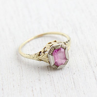 Antique 14k Yellow & White Gold Pink Stone Ring - Size 8 1/2 Vintage Filigree Art Deco 1930s Fine Jewelry / Vine Setting
