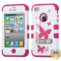 Hybrid Dual Layer Hard Gel Protector Cover With Kickstand For Apple iPhone 4 4S, Butterfly Dancing Hot Pink