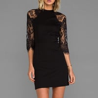 BB Dakota Princeton Ponte Dress w/ Lace Sleeves in Black