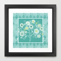 Tree of Life Floral Damask Watercolor Pattern Framed Art Print by Audrey Jeannes