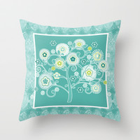 Tree of Life Floral Damask Watercolor Pattern Throw Pillow by Audrey Jeannes