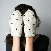 handmade cute white ivory wool color mittens with black heart shaped studs holiday knits