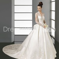 Wholesale Wedding Dress - Buy 2013 New Hot Elegant Bridal Gown V-neck Long Sleeve A-line Appliques Cathedral Wedding Dresses 2014, $199.0 | DHgate