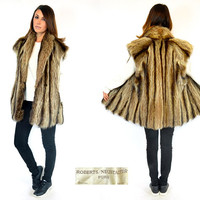 naturally striped RACCOON FUR oversized boyfriend GILET vest sleeveless jacket coat, one size fits all