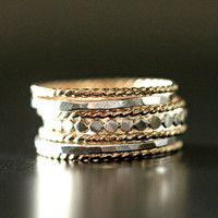 SALE Set of 7 mixed metal stacking bands. 14k gold fill and sterling silver rings. solid thick set ringrope / twist / hammered /beaded /