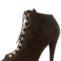 Liliana Boho 1 Black Suede High Heel Booties