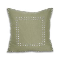 Square Gaga Double Nailhead Pillow - Iguana Green
