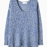 Blue Metallic Yarn Knit Sweater with Curved Hem