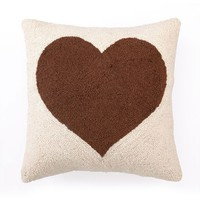 Heart Hook Pillow - Brown