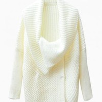 White Oversized Collar Knit Cardigan
