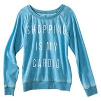 Junior's Shopping Is My Cardio Lightweight Sweatshirt - Blue