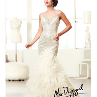 (PRE-ORDER) Mac Duggal 2014 Prom Dresses - Ivory & Gold Sequin Beaded Illusion Neckline Ruffled Tiered Mermaid Gown