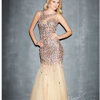 (PRE-ORDER) Night Moves by Allure 2014 Prom Dresses - Nude Illusion Net & Multi Colour Beaded Mermaid Prom Gown