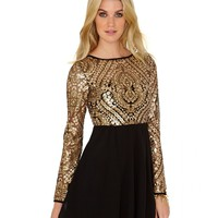 Missguided - Rhoa Brocade Sequin Detail Contrast Skater Dress
