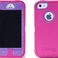 Otterbox iPhone 5 Case Custom Glitter Pink/Orchid Defender Series Case Cover iPhone 5 Otterbox