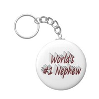 World's #1 Nephew 3D Key Chains, Burgundy