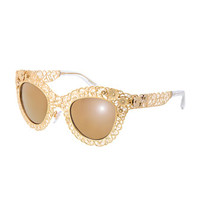 D&G Antique Golden Filgree Cat-Eye Sunglasses