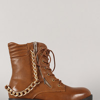 Bamboo Explore-01 Chained Zipper Military Lace Up Bootie