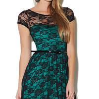 Sweetheart Belted Lace Dress | Wet Seal